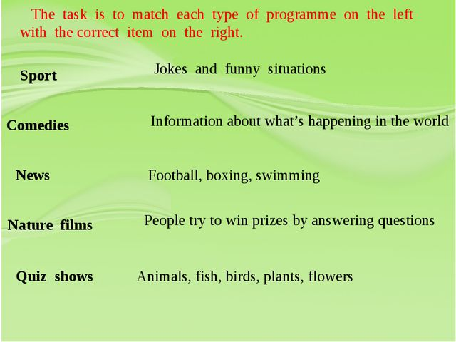 The task is to match each type of programme on the left with the correct ite...