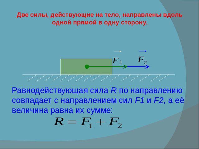 Две силы, действующие на тело, направлены вдоль одной прямой в одну сторону....