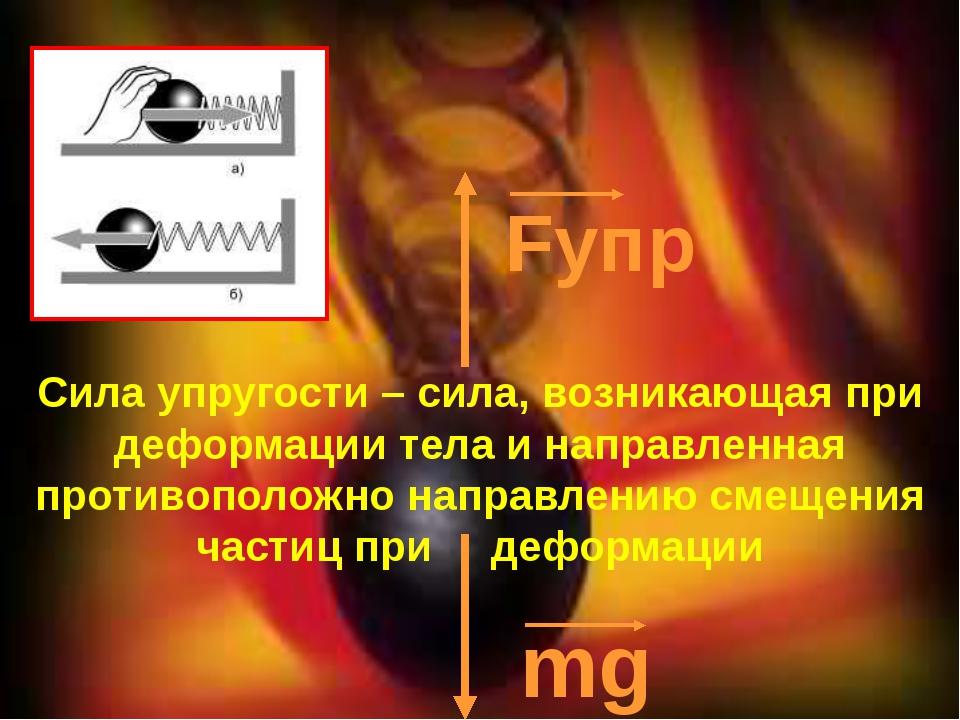 Fупр mg Сила упругости – сила, возникающая при деформации тела и направленна...