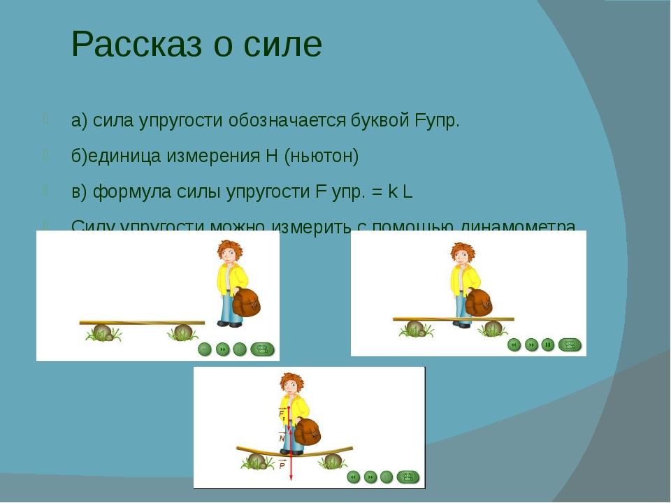 Рассказ о силе а) сила упругости обозначается буквой Fупр. б)единица измерени...