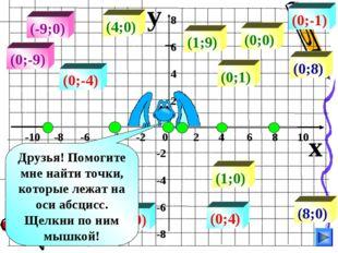 y x -10 -8 -6 -4 -2 0 2 4 6 8 10 8 6 4 2 -2 -4 -6 -8 (8;0) (-4;0) (-9;0) (4;0