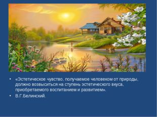 «Эстетическое чувство, получаемое человеком от природы, должно возвыситься на