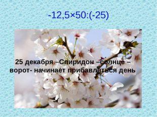 -12,5×50:(-25) 25 декабря –Спиридон –солнце – ворот- начинает прибавляться день