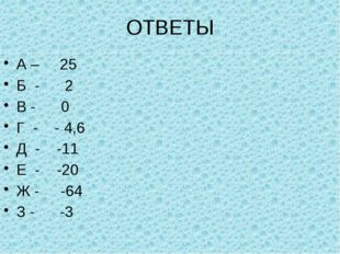 ОТВЕТЫ А – 25 Б - 2 В - 0 Г - - 4,6 Д - -11 Е - -20 Ж - -64 З - -3