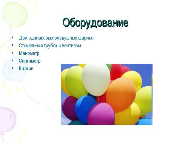 Оборудование Два одинаковых воздушных шарика Стеклянная трубка с вентилем Ман...
