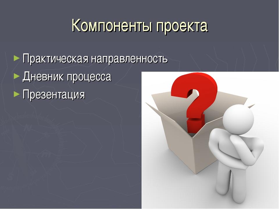 Компоненты проекта Практическая направленность Дневник процесса Презентация