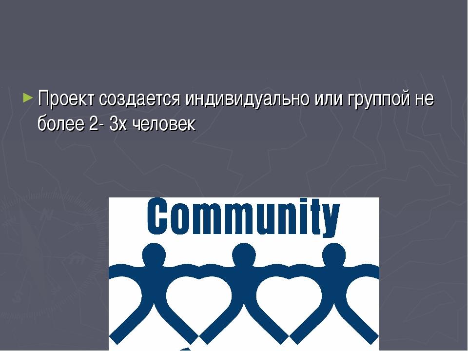Проект создается индивидуально или группой не более 2- 3х человек