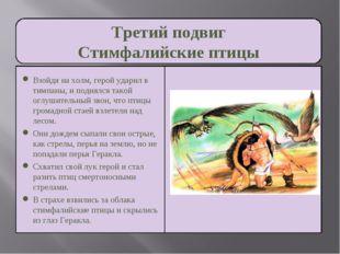 Третий подвиг Стимфалийские птицы Взойдя на холм, герой ударил в тимпаны, и п