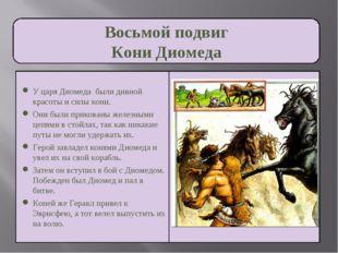 Восьмой подвиг Кони Диомеда У царя Диомеда были дивной красоты и силы кони. О