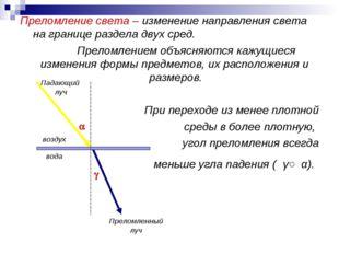 Преломление света – изменение направления света на границе раздела двух сред.