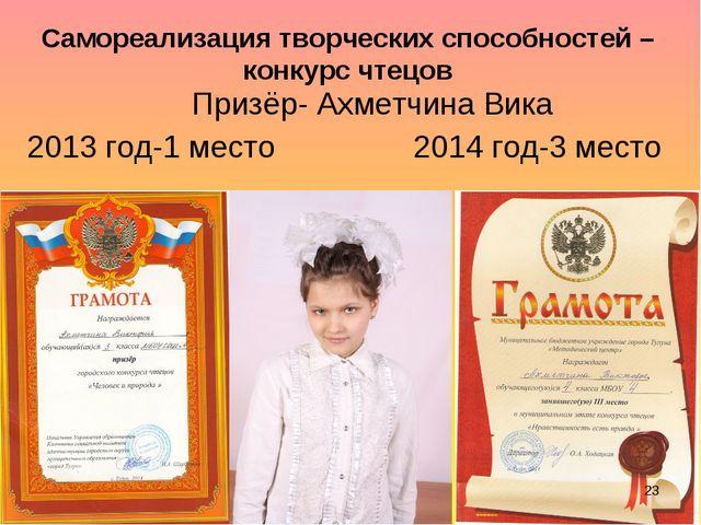 Самореализация творческих способностей – конкурс чтецов Призёр- Ахметчина Вик...