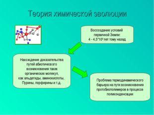 Теория химической эволюции Воссоздание условий первичной Земли: 4 - 4,5*109 л