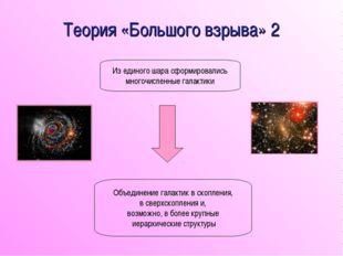 Теория «Большого взрыва» 2 Из единого шара сформировались многочисленные гала