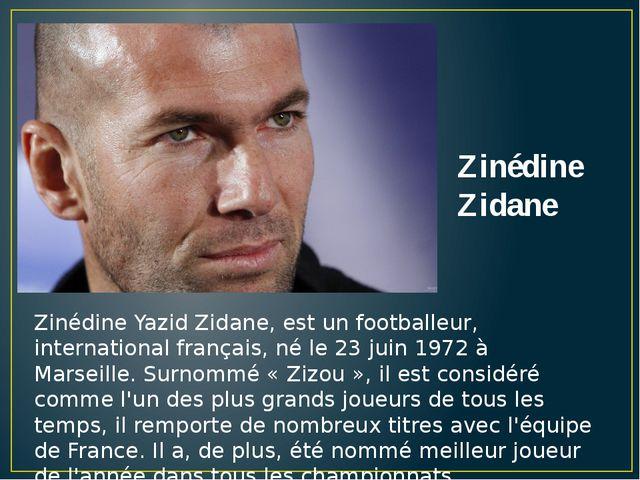 Zinédine Yazid Zidane, est un footballeur, international français, né le 23 j...