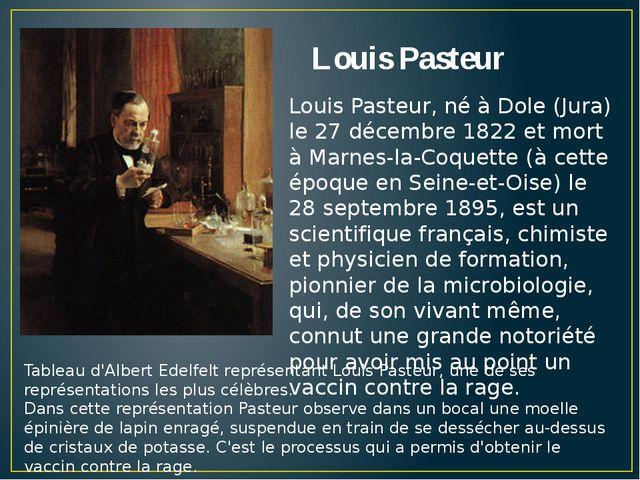 Louis Pasteur Tableau d'Albert Edelfelt représentant Louis Pasteur, une de se...
