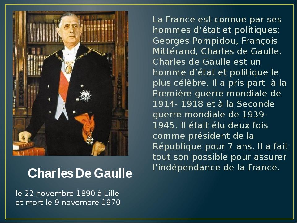 La France est connue par ses hommes d'état et politiques: Georges Pompidou, F...