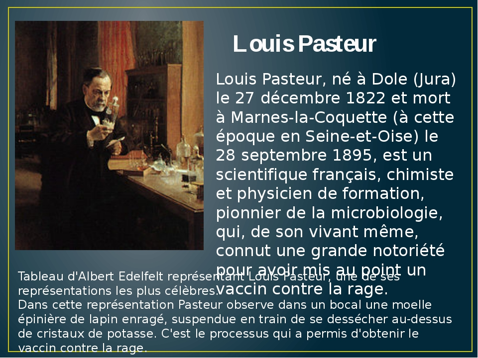 the life and accomplishments of louis pasteur Louis pasteur - research career: in 1843 pasteur was admitted to the école normale supérieure (a teachers' college in paris), where he attended lectures by french chemist jean-baptiste-andré dumas and became dumas's teaching assistant.