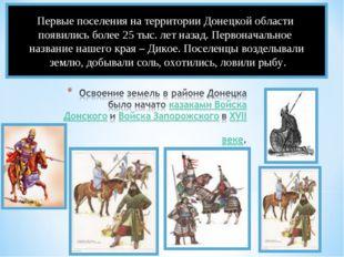 Первые поселения на территории Донецкой области появились более 25 тыс. лет н