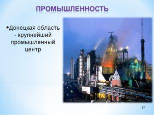 * Донецкая область - крупнейший промышленный центр