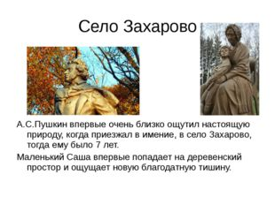 Село Захарово А.С.Пушкин впервые очень близко ощутил настоящую природу, когда
