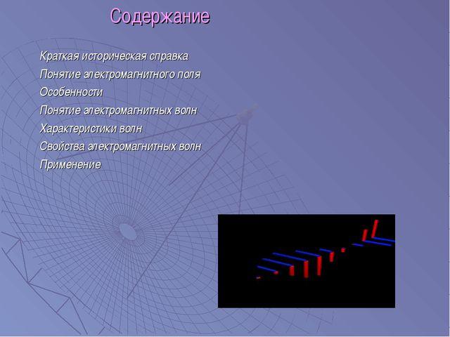 Содержание Краткая историческая справка Понятие электромагнитного поля Особе...