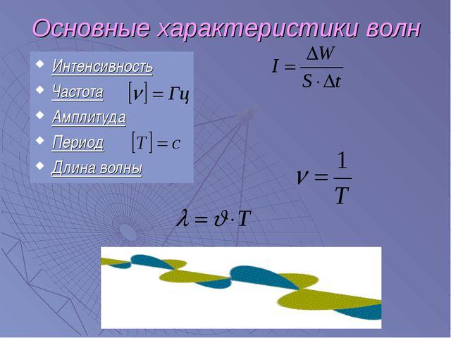 Основные характеристики волн Интенсивность Частота Амплитуда Период Длина волны