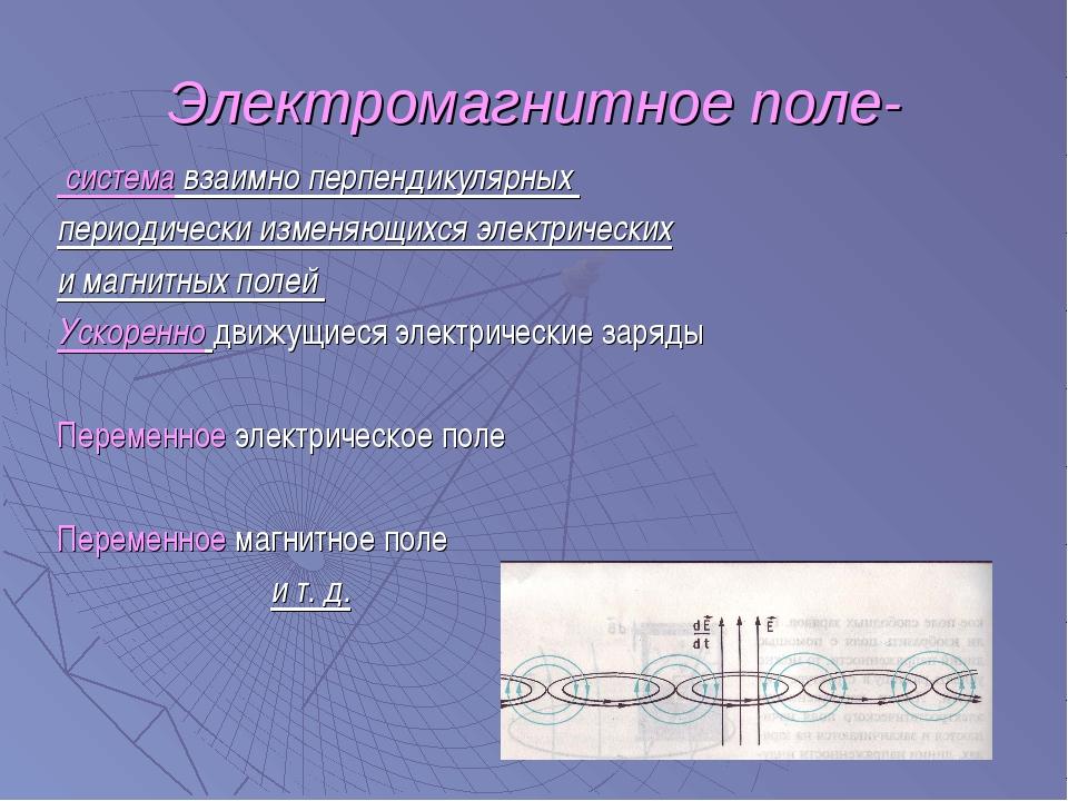 Электромагнитное поле- система взаимно перпендикулярных периодически изменяющ...