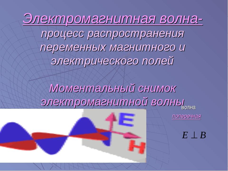 Электромагнитная волна- процесс распространения переменных магнитного и элект...