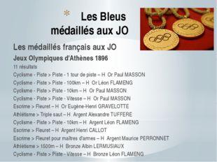 Les Bleus médaillés aux JO Les médaillés français aux JO Jeux Olympiques d'At