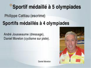 Sportif médaillé à 5 olympiades Philippe Cattiau (escrime) Sportifs médaillés