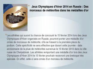 Jeux Olympiques d'hiver 2014 en Russie : Des morceaux de météorites dans les