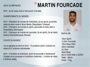 MARTIN FOURCADE BIATHLON 10km Sprint 12,5km Poursuite 15km Mass Start 20km in