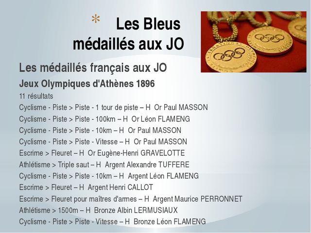 Les Bleus médaillés aux JO Les médaillés français aux JO Jeux Olympiques d'At...