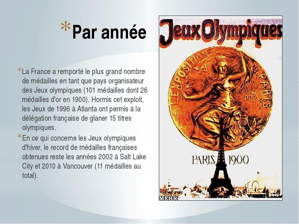 Par année La France a remporté le plus grand nombre de médailles en tant que...