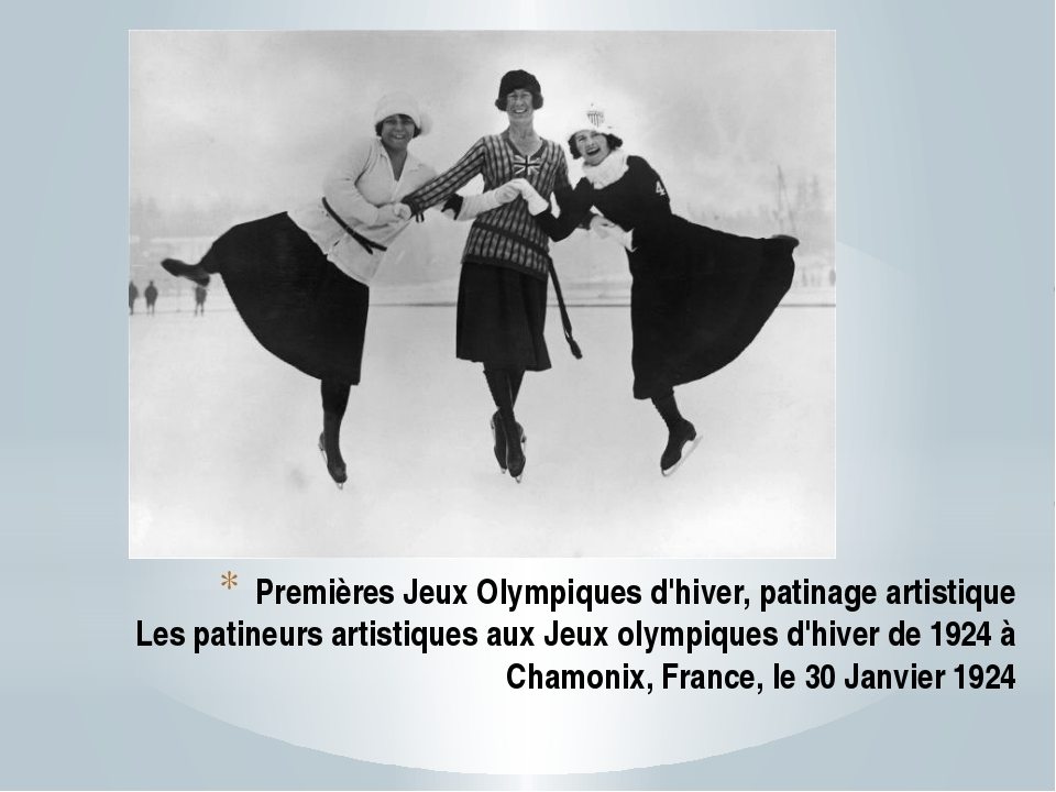 Premières Jeux Olympiques d'hiver, patinage artistique Les patineurs artistiq...