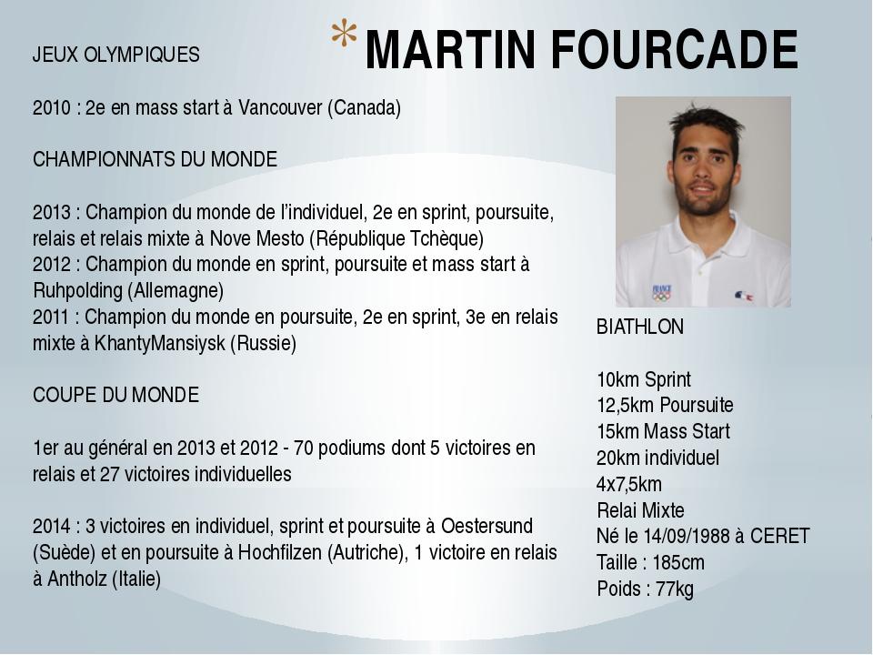 MARTIN FOURCADE BIATHLON 10km Sprint 12,5km Poursuite 15km Mass Start 20km in...