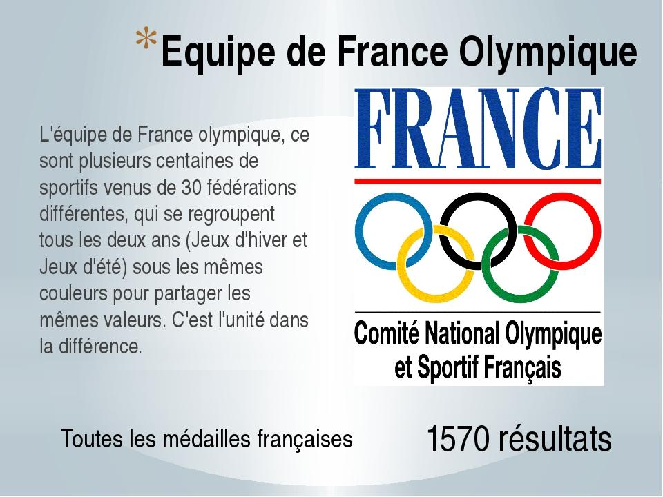Equipe de France Olympique L'équipe de France olympique, ce sont plusieurs ce...