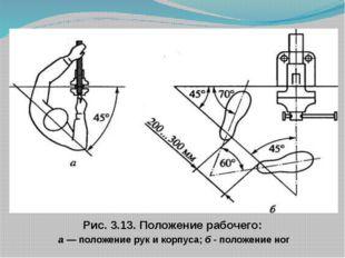 Рис. 3.13. Положение рабочего: а — положение рук и корпуса; б - положение ног