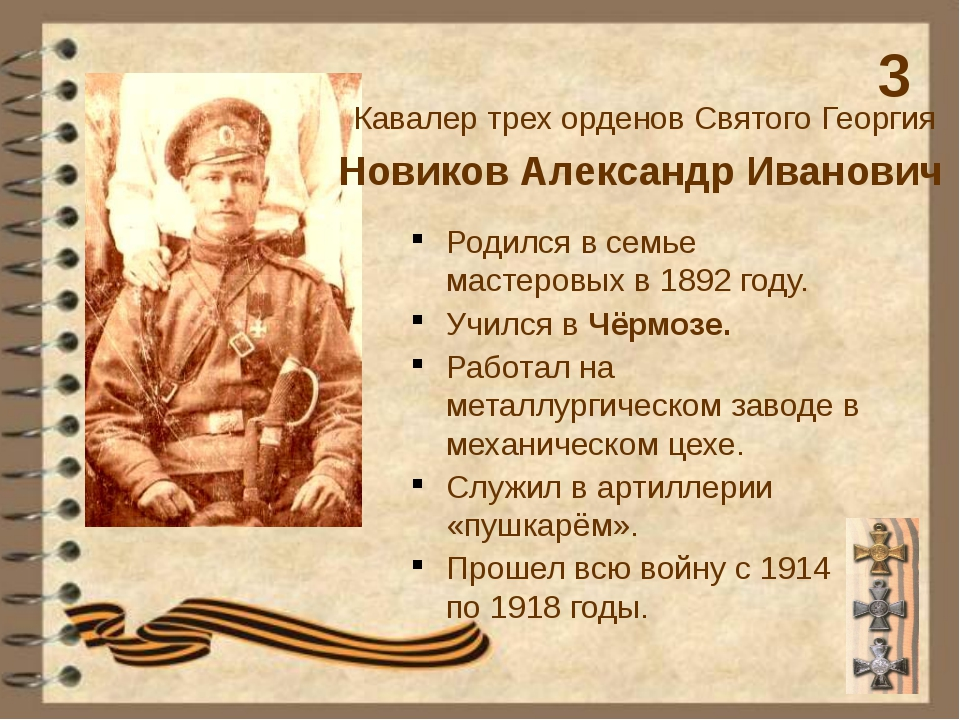 Новиков Александр Иванович Кавалер трех орденов Святого Георгия Родился в сем...