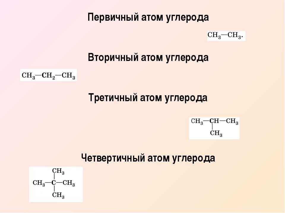 Первичный атом углерода Вторичный атом углерода Третичный атом углерода Четве...