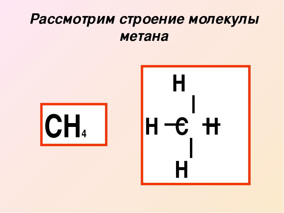 Рассмотрим строение молекулы метана СН4 Н Н С Н Н