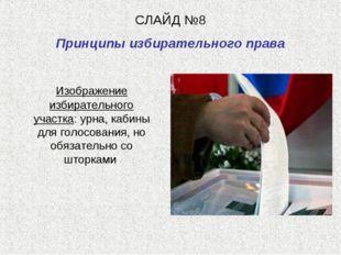 СЛАЙД №8 Принципы избирательного права Изображение избирательного участка: ур
