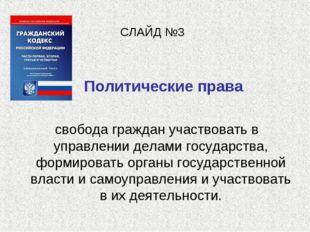 СЛАЙД №3 Политические права свобода граждан участвовать в управлении делами г