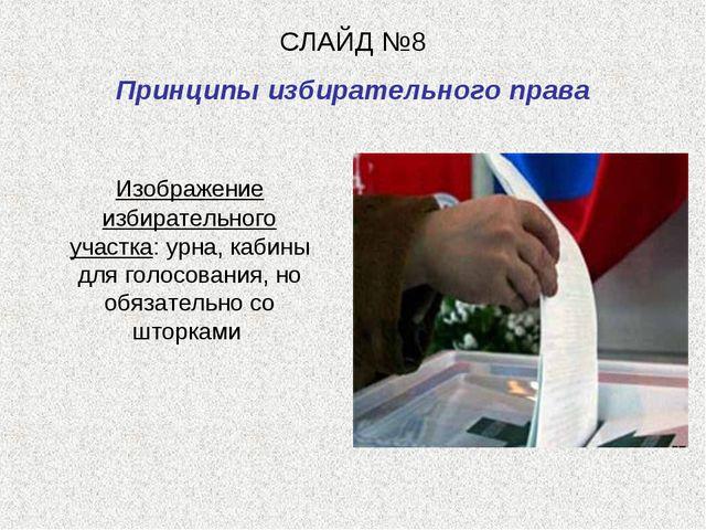 СЛАЙД №8 Принципы избирательного права Изображение избирательного участка: ур...