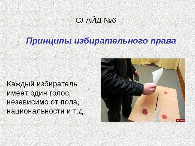 СЛАЙД №6 Принципы избирательного права Каждый избиратель имеет один голос, не...