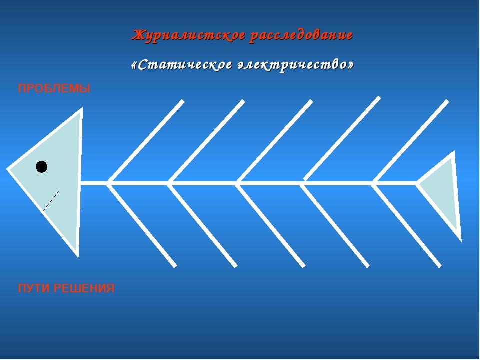 Журналистское расследование «Статическое электричество» ПРОБЛЕМЫ ПУТИ РЕШЕНИЯ