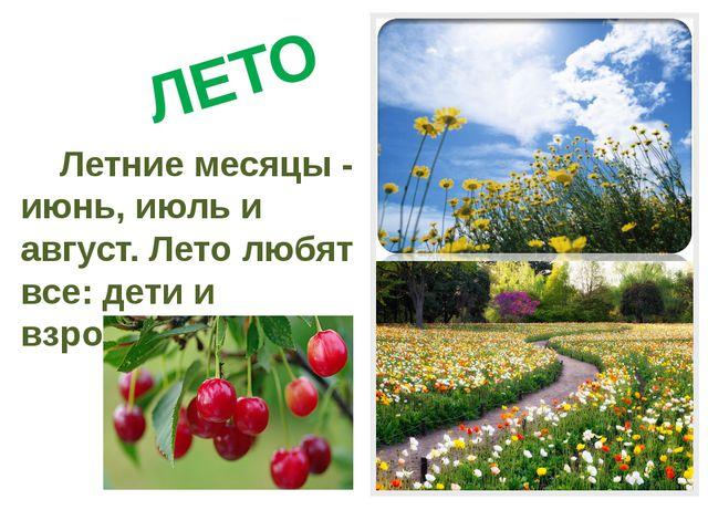 ЛЕТО Летние месяцы - июнь, июль и август. Лето любят все: дети и взрослые .