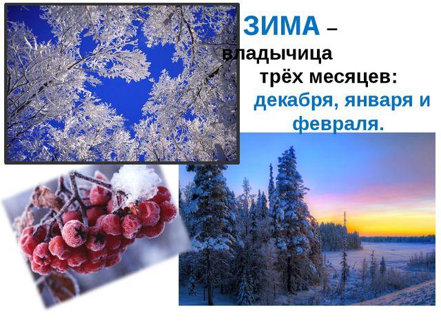 ЗИМА – владычица трёх месяцев: декабря, января и февраля.