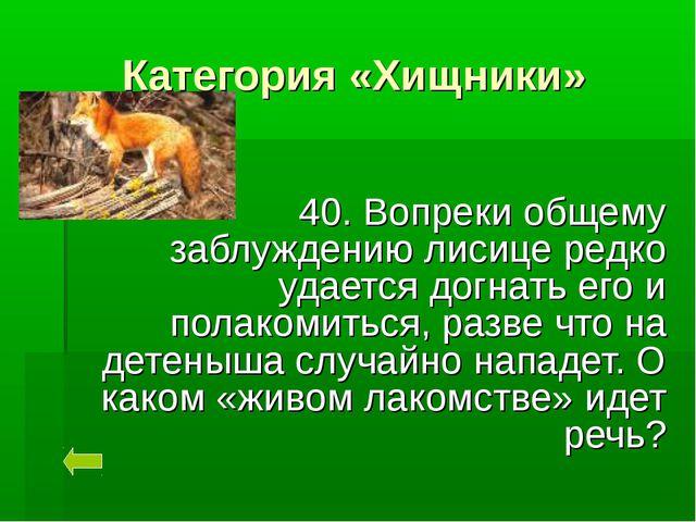 Категория «Хищники» 40. Вопреки общему заблуждению лисице редко удается догна...