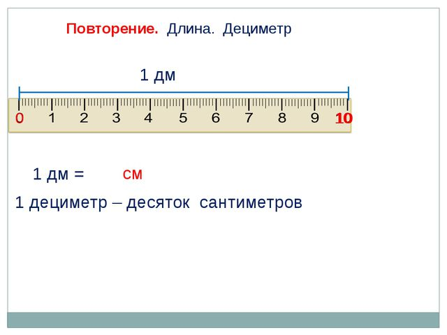 1 дм = Повторение. Длина. Дециметр 0 10 1 дециметр – десяток сантиметров 1 дм...
